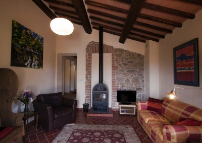 Sitting room with wood stove